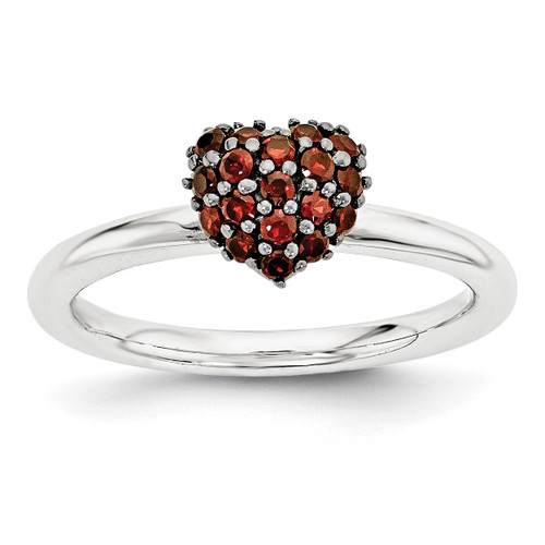 Garnet Heart Ring Sterling Silver MPN: QSK1826 UPC: 886774374925 by Stackable Expressions