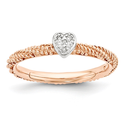 Rose Gold Plated Heart Ring Sterling Silver Diamond MPN: QSK1828 UPC: 886774375045 by Stackable Expressions