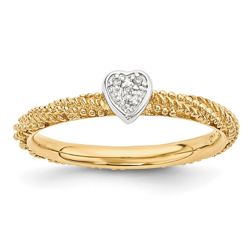 Yellow Gold Plated Heart Ring Sterling Silver Diamond MPN: QSK1829 UPC: 886774375106 by Stackable Expressions