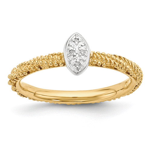 Yellow Gold Plated Ring Sterling Silver Diamond MPN: QSK1832 UPC: 886774375281 by Stackable Expressions