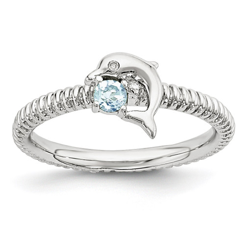 Blue Topaz & Diamond Dolphin Ring Sterling Silver MPN: QSK1856 UPC: 886774376479 by Stackable Expressions