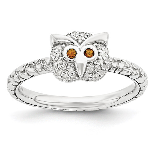 Garnet & Diamond Owl Ring Sterling Silver MPN: QSK1858 UPC: 886774376592 by Stackable Expressions