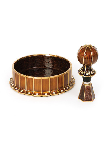 Jay Strongwater Hansen Wine Coaster with Wine Stopper and Stand Coaster Amber SDH2463-274