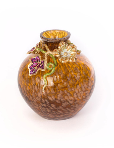 Jay Strongwater Cleo Leaf and Flower Jeweled Vase Bouquet SDH6622-289