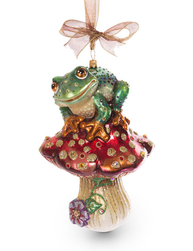 Jay Strongwater Frog on Mushroom Glass Ornament Jewel SDH2244-250