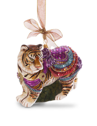 Jay Strongwater Carousel TigerGlass Ornament Jewel SDH2250-250
