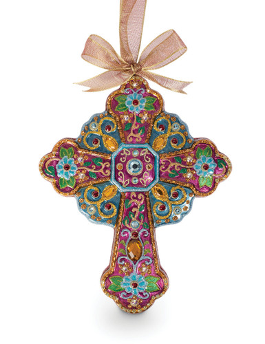 Jay Strongwater Cross Glass Ornament Jewel SDH2253-250