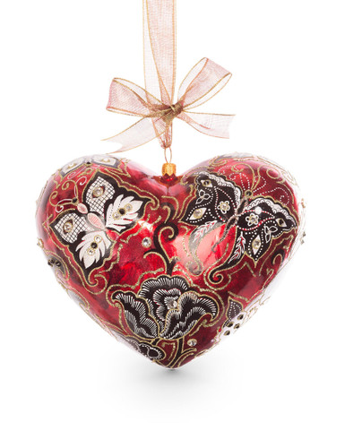 Jay Strongwater Butterfly Nouveau Artisan Heart Ornament Siam SDH2262-222