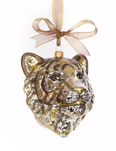 Jay Strongwater Gilded Tiger Head Glass Ornament Gold SDH2266-292