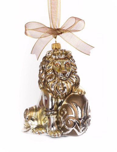 Jay Strongwater Gilded Lion with Egg Glass Ornament Gold SDH2273-292