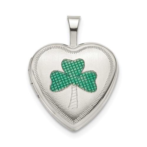 16Mm Green Enamel Clover Heart Locket Sterling Silver QLS800