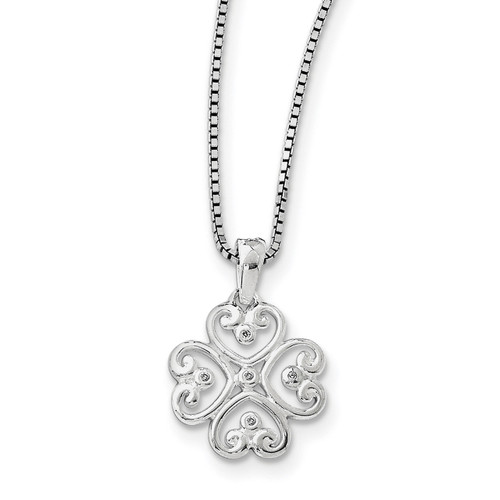 .01 Diamond Heart Necklace Sterling Silver QW337-18