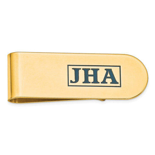 Enameled Letters Polished Monogram Money Clip Sterling Silver Gold-plated XNA610GP