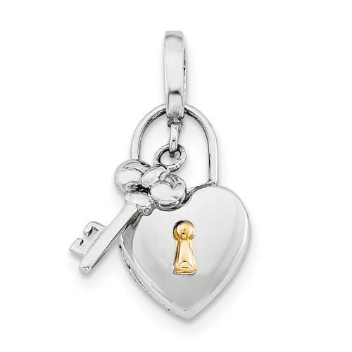 10Mm Heart Lock & Key Hinge Locket Sterling Silver Rhodium-plated QLS594
