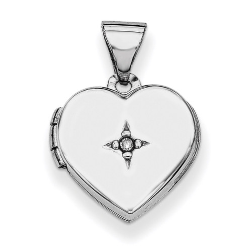 12Mm Heart with Diamond Locket Sterling Silver Rhodium-plated QLS600