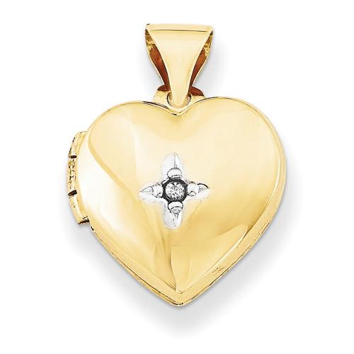12Mm Heart with Diamond Locket 14k Gold XL636