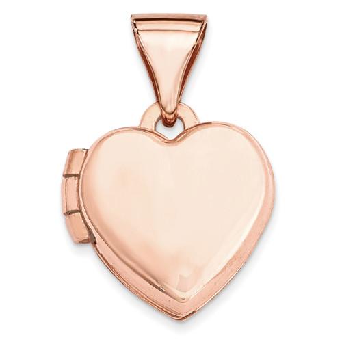 10Mm Plain Heart Locket 14k Rose Gold XL654