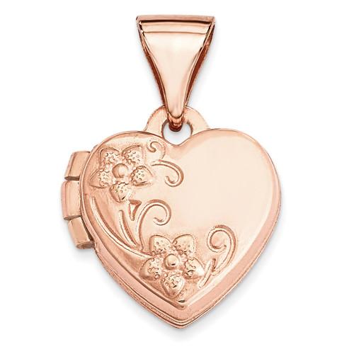 10Mm Floral Heart Locket 14k Rose Gold XL655