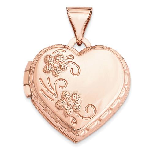 15Mm Domed Heart Locket 14k Rose Gold XL658