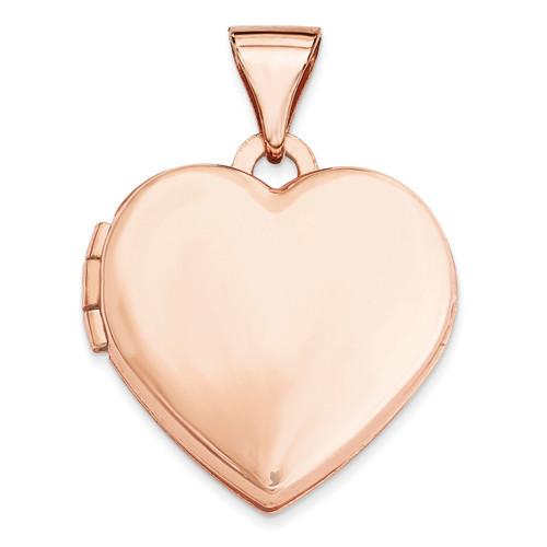 15Mm Plain Heart Locket 14k Rose Gold XL660