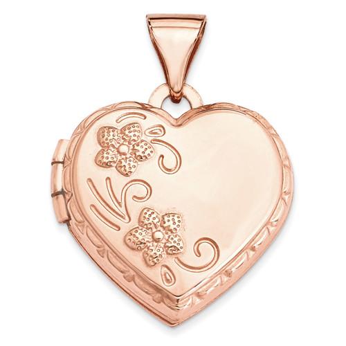 15Mm Reversible Heart Locket 14k Rose Gold XL662