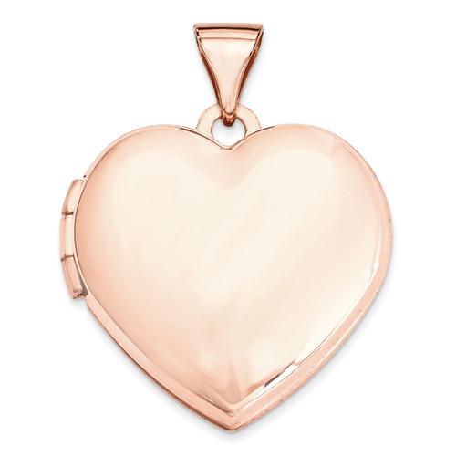 18Mm Domed Heart Locket 14k Rose Gold XL663