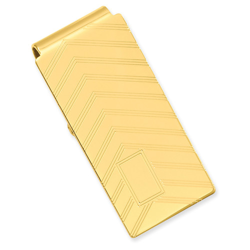 Angles Engravable Hinged Money Clip Gold-plated KW672