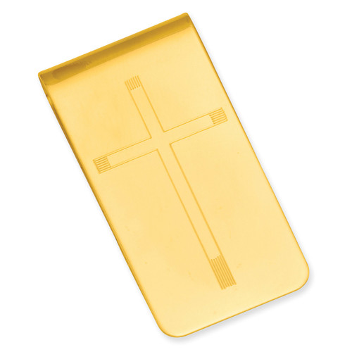Cross Engravable Money Clip Gold-plated KW676