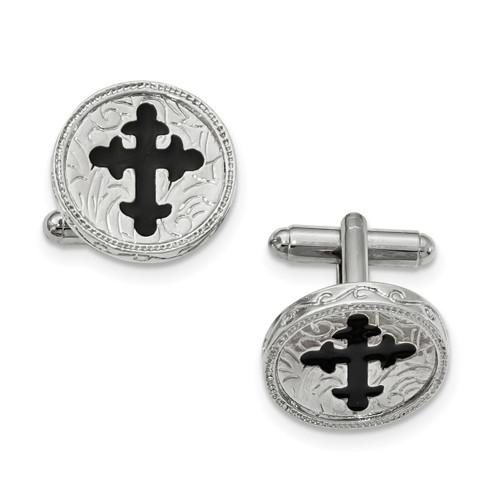 Black Enameled Cross Cufflinks Silver-tone RF555