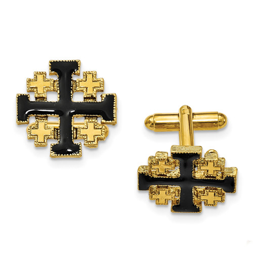 Black Enameled Jerusalem Cross Cufflinks 14k Gold-plated RF556