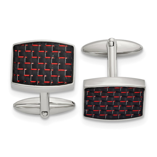 Black and Red Carbon Fiber Inlay Cufflinks Stainless Steel Polished Engravable SRC390