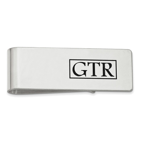 Enameled Letters Polished Monogram Money Clip Sterling Silver XNA609SS