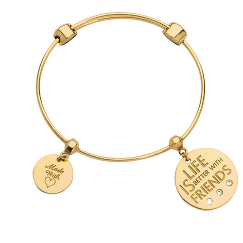 Nikki Lissoni Charm Bangle with Two Fixed Charms Life Is Better with Friends Made with Love Gold-plated 17cm MPN: B1153G17 UPC: B1153G17_NIK