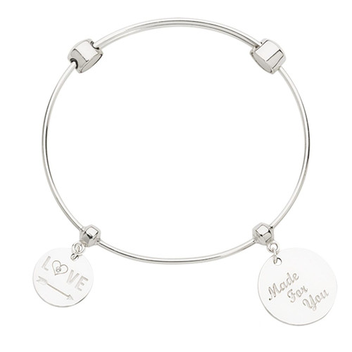 Nikki Lissoni Charm Bangle with Two Fixed Charms Direction To Love Made For You with Passion Silver-plated 17cm MPN: B1152S17 UPC: B1152S17_NIK