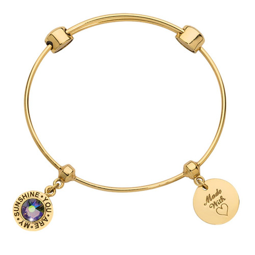 Nikki Lissoni Charm Bangle with Two Fixed Charms You Are My Sunshine Made with Love Gold-plated 19cm MPN: B1141G19 UPC: B1141G19_NIK