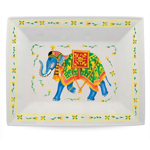 Halcyon Days Ceremonial Indian Elephant White Trinket Tray BCCIE03TTN
