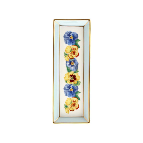 Halcyon Days Shell Garden Floral Pansies Blue Rectangular Tray BCCPA12RTG