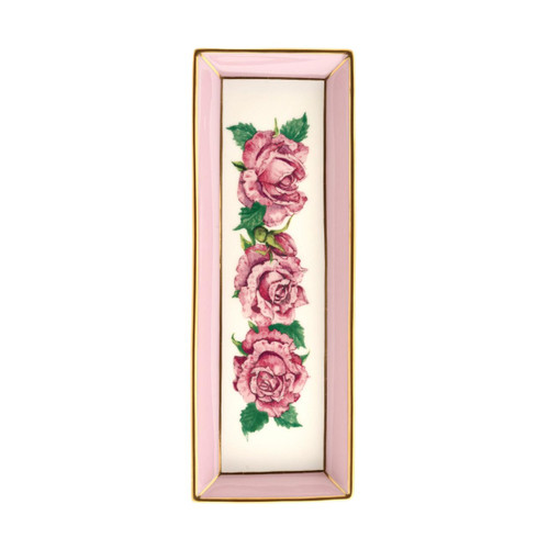 Halcyon Days Shell Garden Floral Rose Pink Rectangular Tray BCCRO26RTG