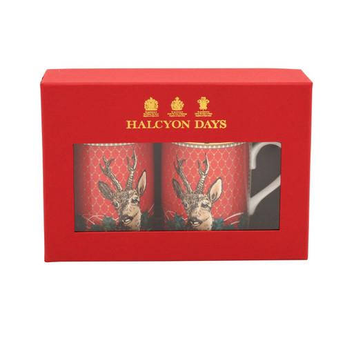 Halcyon Days Antler Trellis & Stag Head Mug Set of 2 BCGAS06MSG