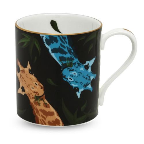 Halcyon Days Giraffe Family Black Mug BCGFA02MGG