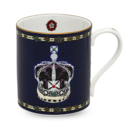 Halcyon Days The Imperial Crown of India Blue Mug BCHIC11MGG
