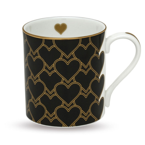 Halcyon Days Heart Trellis Black Mug BCHTR02MGG
