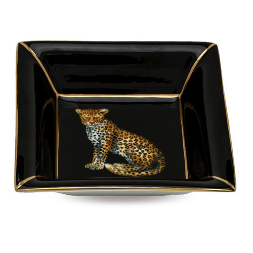 Halcyon Days Twin Leopards Square Tray BCMWL02STG