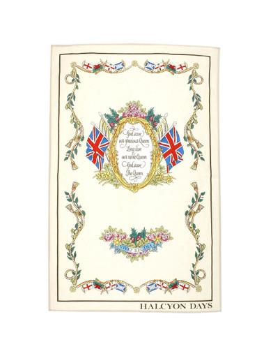 Halcyon Days Vivat Regina Ivory Tea Towel SAVIV04TT