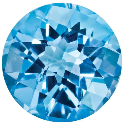 Blue Topaz 5mm Round Checkerboard Gemstone BT-0500-RDX-AA