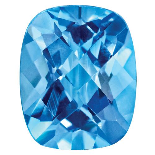 Blue Topaz 7X5mm Cushion Checkerboard Gemstone BT-0705-CUX-AA