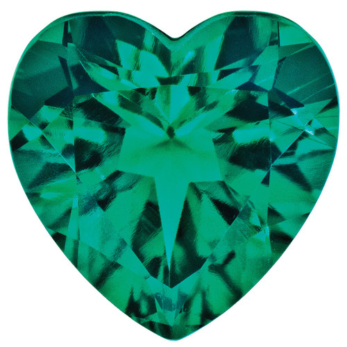 Created Emerald 4mm Heart Faceted Gemstone CE-0400-HTF