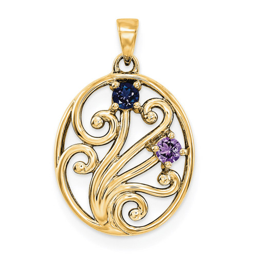 14K Yellow Gold Genuine  Family & Mother's Pendants YM1440-2GY