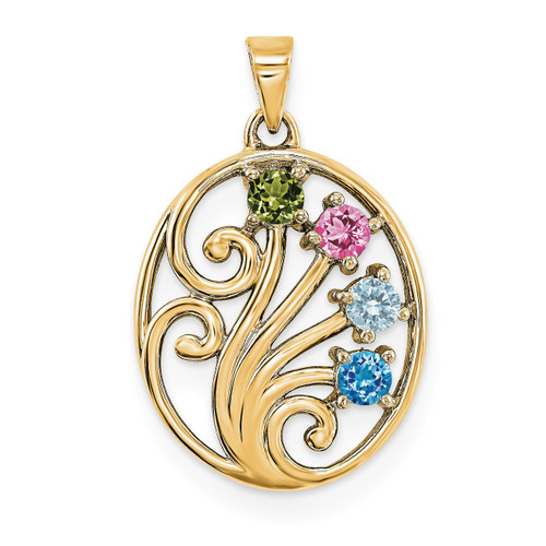 14K Yellow Gold Genuine  Family & Mother's Pendants YM1440-4GY