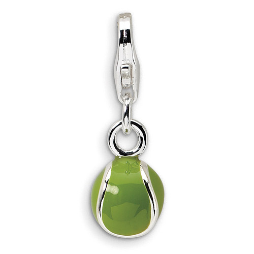 3-D Enameled Tennis Ball Charm Sterling Silver QCC306